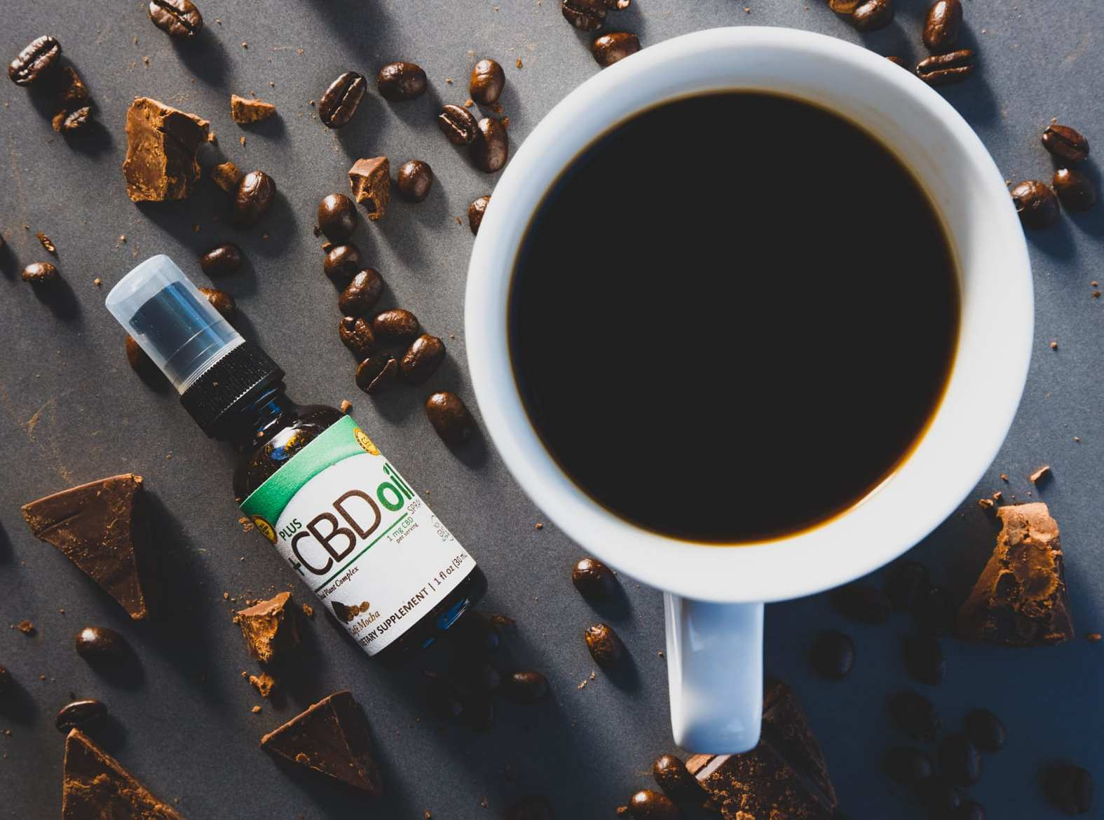Bottles of PlusCBD Cafe Mocha Spray sits near a cup of black coffee and scattered coffee beans and chocolate chunks. PlusCBD Cafe Mocha Spray helped our review team start our day with a relaxing and flavorful cup.