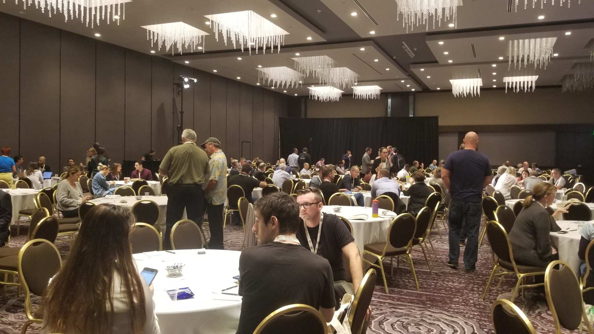 A crowd gathered in one of the ballrooms at the Hemp Industries Association Conference. Hundreds gathered at the Los Angeles Hilton for the 2018 Hemp Industries Association Conference, where they discussed the future and potential of hemp in America.