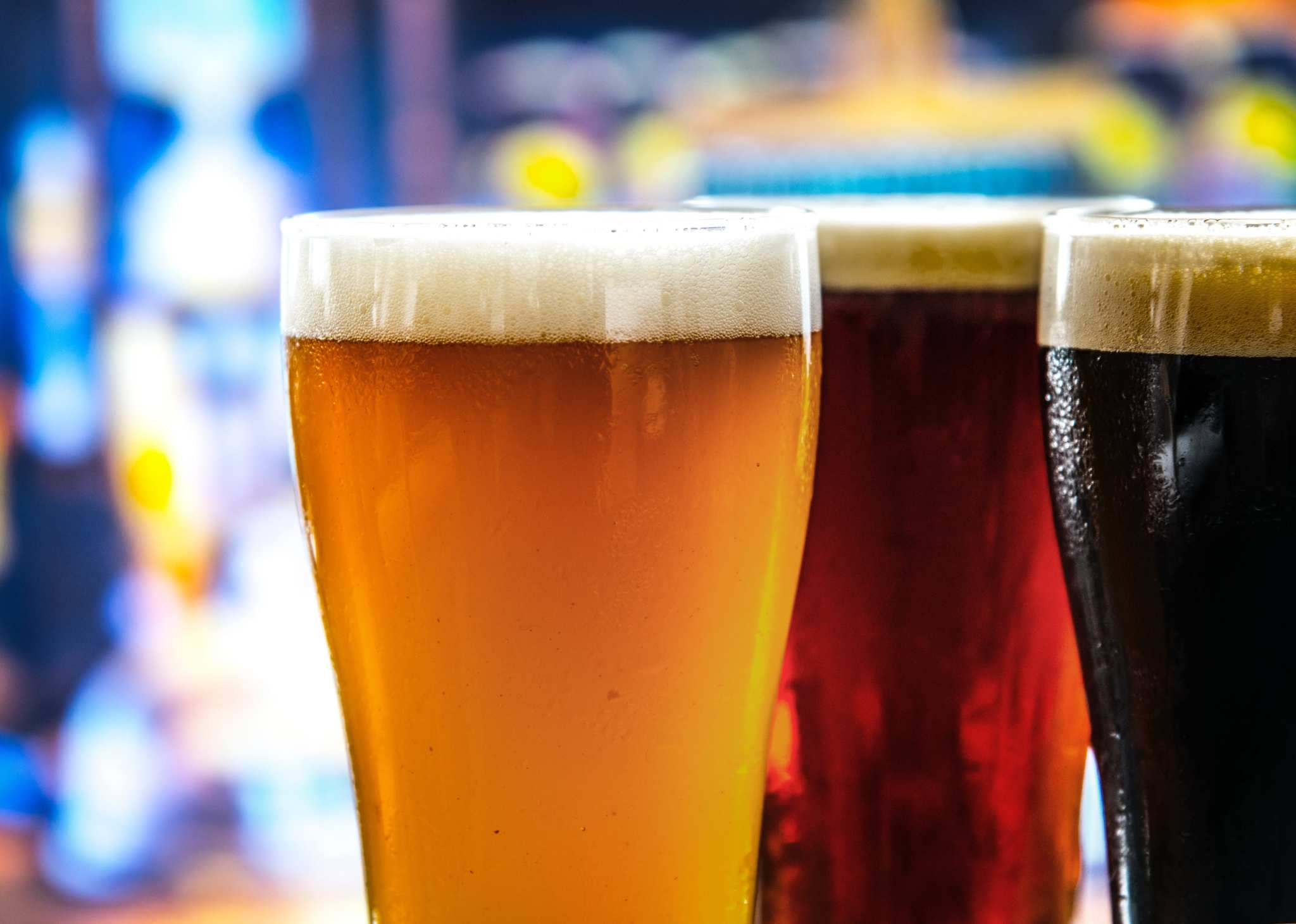 A photo showing three different beers of different colors in pint glasses. The success of New Belgium is bringing a host of new hemp craft beer to market, as well as entries from some larger brewers too.