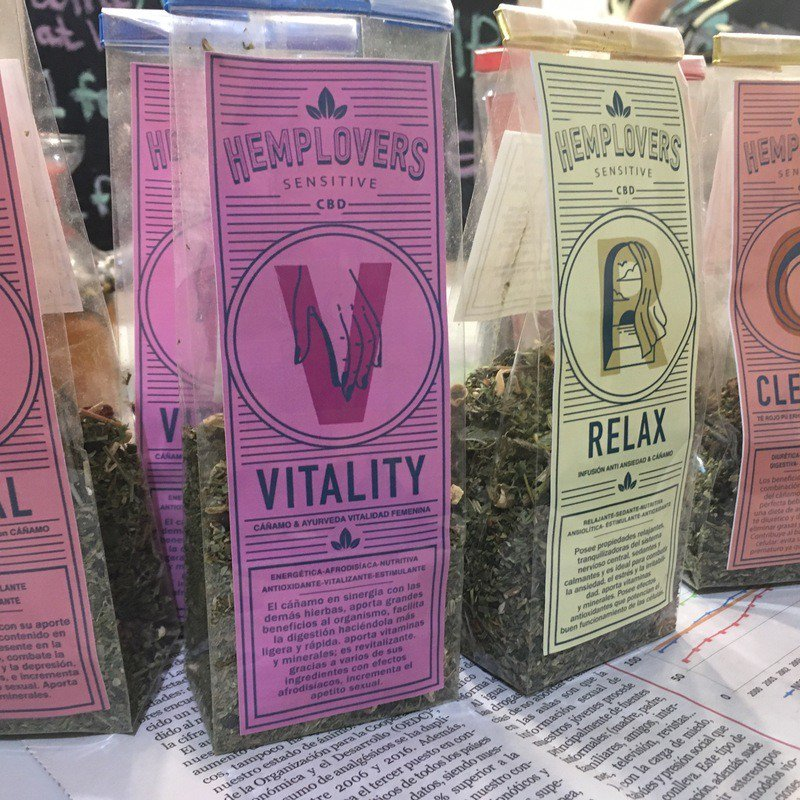 Hemp flower, like this brand for sale at Spannabis, is growing in popularity across Europe as a substitute for tobacco. Photo: Various hemp flower smoking blends available for sale at Spannabis.