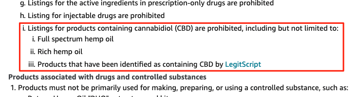 A screenshot of Amazon policies on CBD, showing they clearly ban CBD in all forms.
