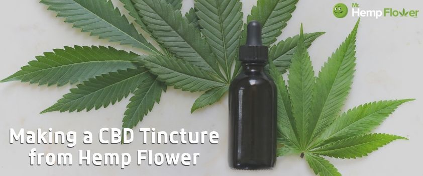 How to Make CBD Oil. Photo shows hemp leaves and a tinctue bottle with text Making A CBD Tincture from Hemp Flower.