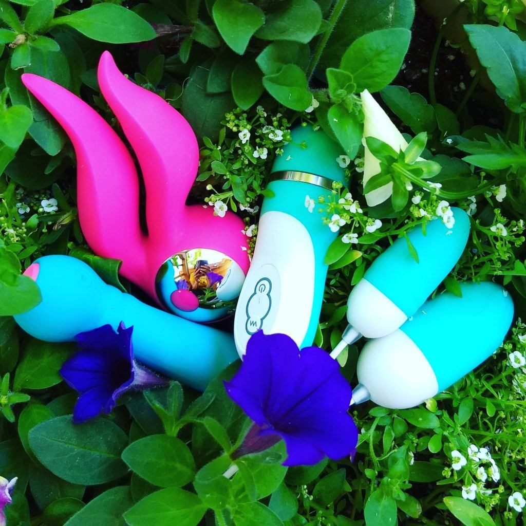 A collection of EngErotics intimate toys arrangethesd in a bed of ivy.