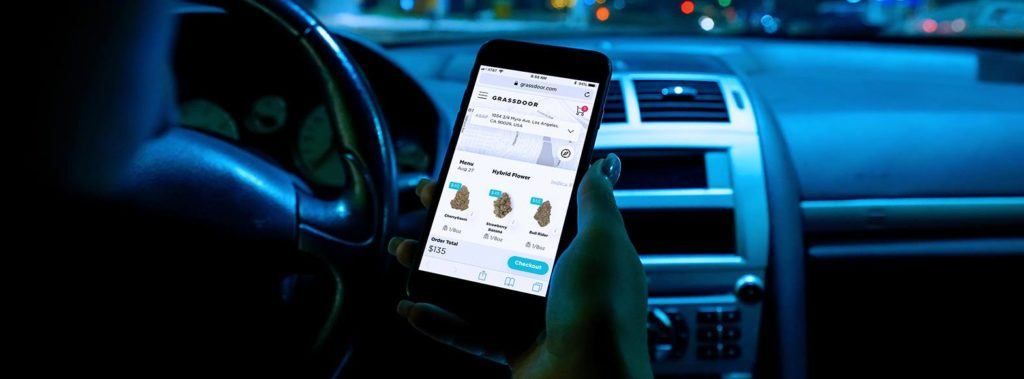 Cannabis deliver services can offer convenient ways to browse options when it comes to vaping alternqtives. Photo: A person looks at the Grassdoor app in a car.