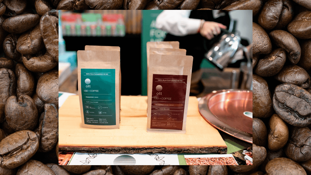 Photo: A composite image of our podcast guest, Alwan Mortada, pouring his Ott CBD coffee at the hemp holiday market, against a backdrop of a photo of coffee beans.