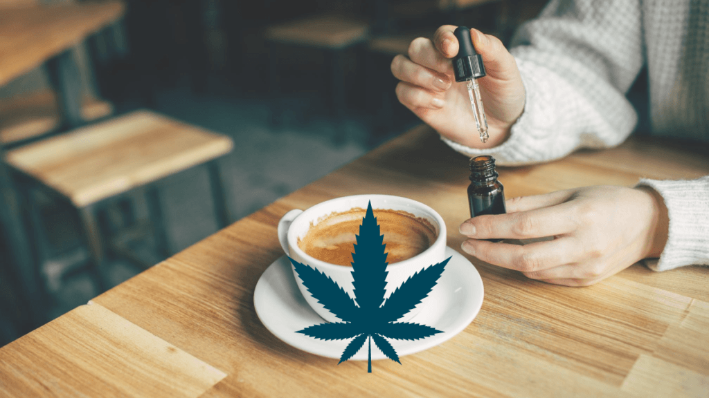In theory, water soluble CBD should absorb better in our bodies and mix better into drinks. But is it all just hype? Photo: Seated at a cafe table, a person adds CBD to a cafe latte. An image of a hemp leaf is supermposed on the cup.