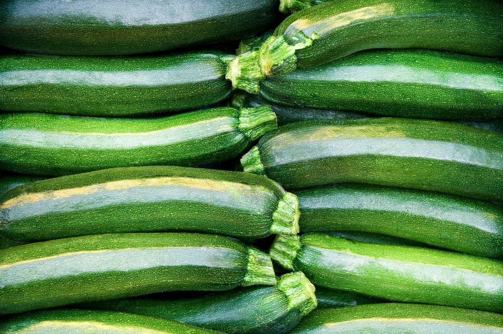 Fresh cropped green Zucchini; Offer in the vegetable market; Summer squash
