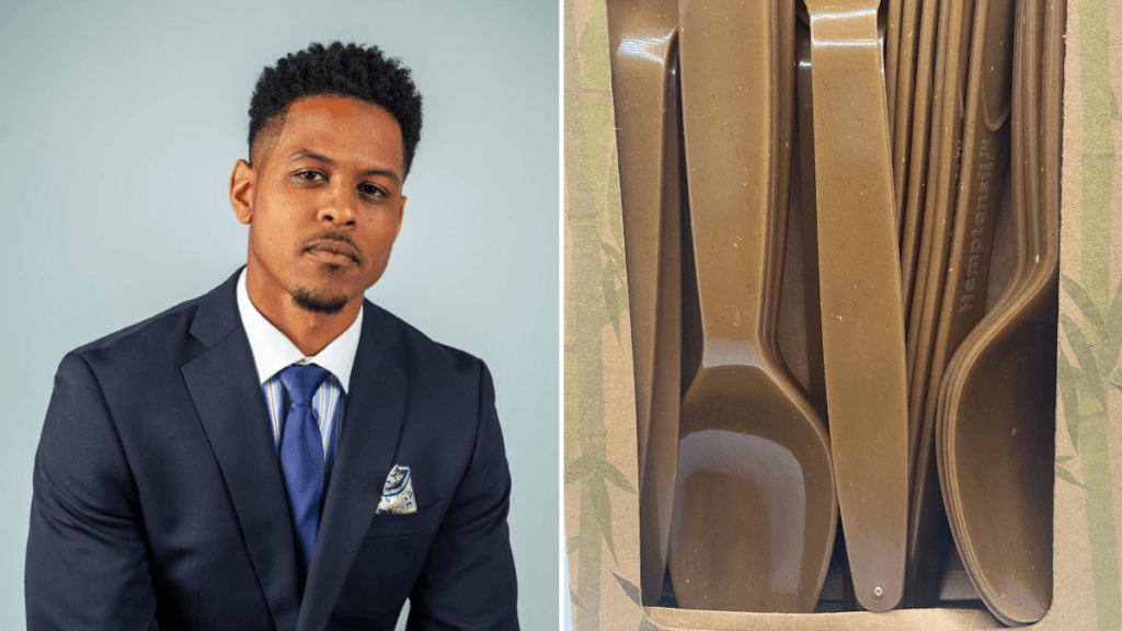 A composite photo showing Jordan Hinshaw, a Black man with short hair in a blue tailored suit and matching tie and, on the right, GreenTek Packaging's Hemptensils, made from hemp bioplastics.