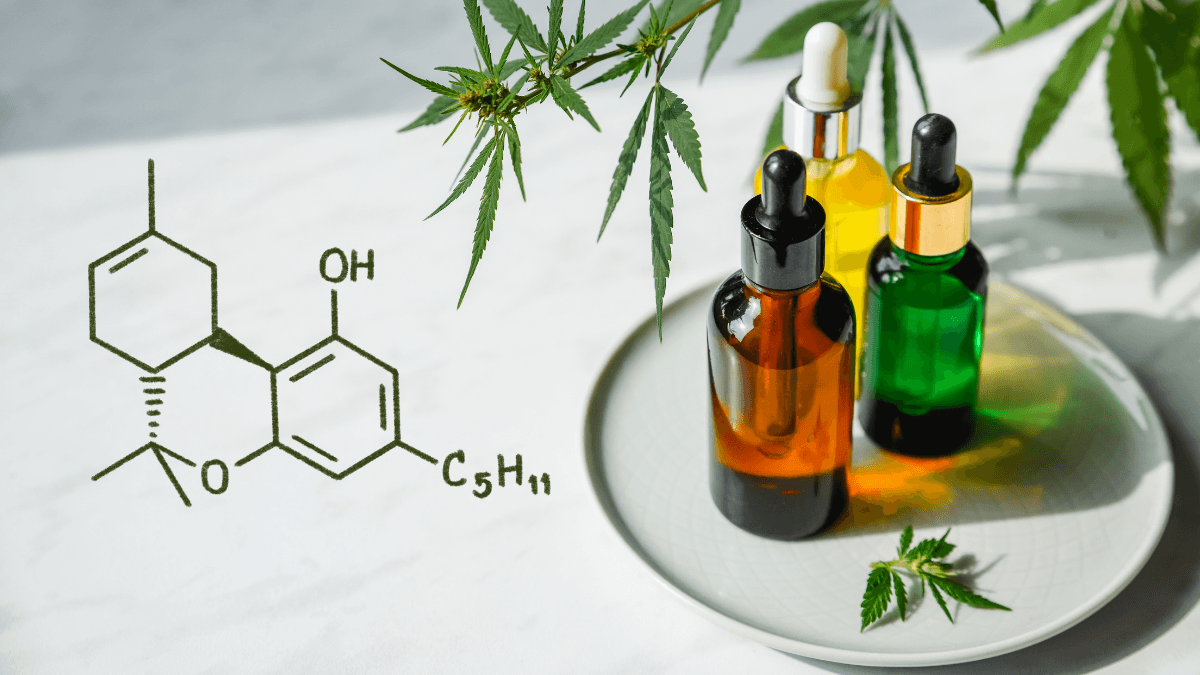 An illustration of the Delta 8 Tetrahydrocannabinol moleculte on a photograph of generic tinctures decorated with hemp leaves.