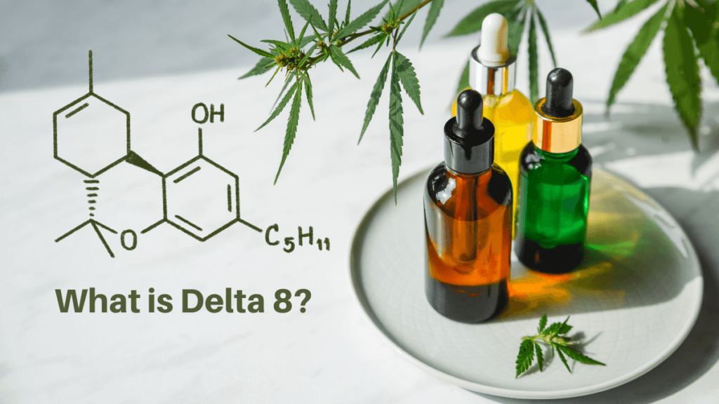 An illustration of the Delta 8 Tetrahydrocannabinol moleculte and the words What Is Delta 8? on a photograph of generic tinctures decorated with hemp leaves.