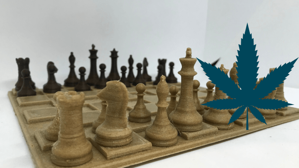 A 3d printed chess board made from hemp plastic. On the Ministry of Hemp podcast, Matt talks with the founder of Corfiber, a 3D hemp printing startup.