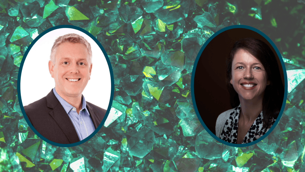 Two photos are superimposed on a green crystal background: Andy Yates and Saoirse O'Sullivan, who joined the Ministry of Hemp podcast to discuss research into a CBD cocrystal which improves bioavailability.