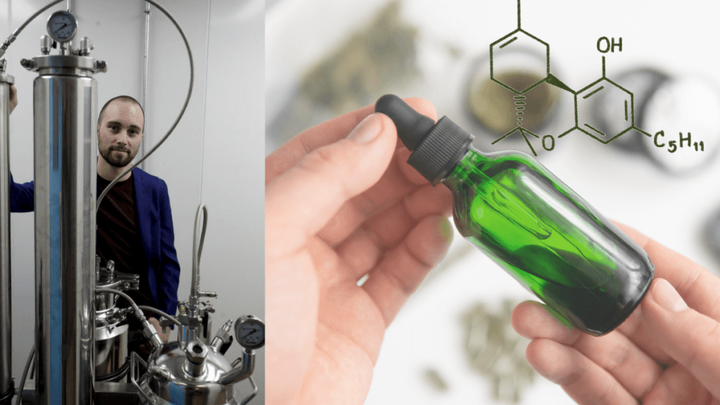 In a composite image, Jordan Lams of Moxie poses with shiny metal extraction equipment. On the right, a white person's hands hold a bottle off hemp extract, with a diagram of the Delta 8 THC molecule added.