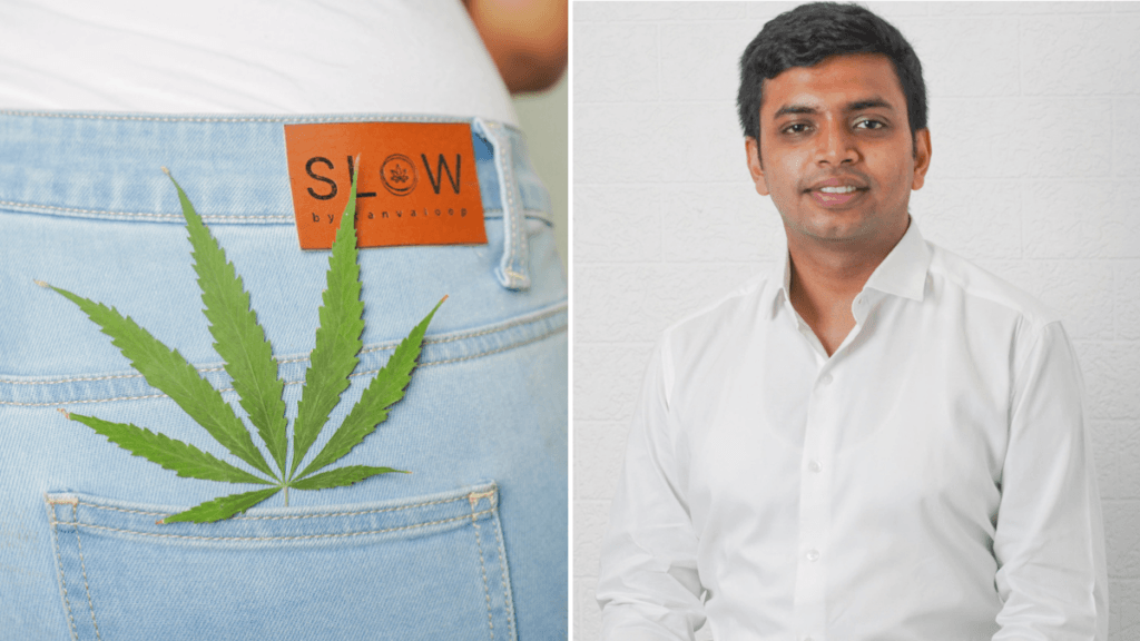 In a composite photo, at left a person in a white t-shirt poses in pale blue 'Slow' brand hemp jeans, seen from behind with a hemp leaf in the back pocket. To the right half of the picture, a photo of Shreyans Kokra smiling in a white button down t-shirt.