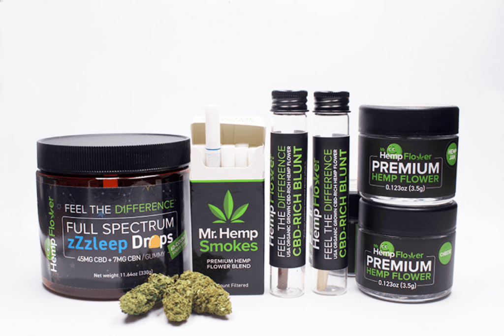 A collection of Mr Hemp Flower wholesale hemp and CBD products, including gummes, pre-rolls and hemp buds.