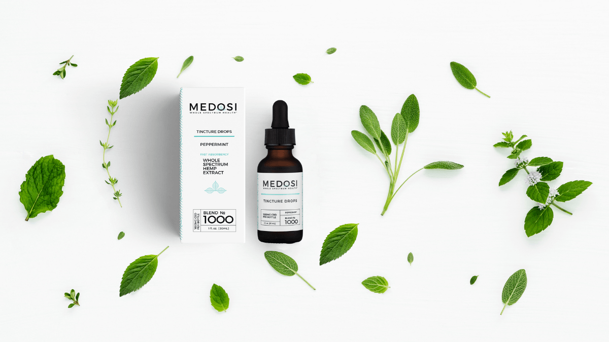 Medosi Tincture Drops bottle and box surrounded by decoratively scattered peppermint leaves.