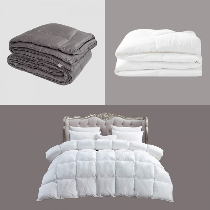 three comforters collaged on multicolor background